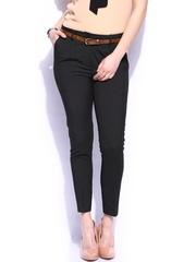 Mast & Harbour Women Black Striped Formal Trousers