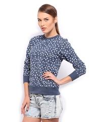 Mast & Harbour Women Blue Printed Sweatshirt