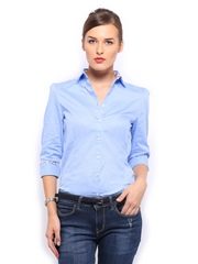 Mast & Harbour Women Blue Saira Slim Fit Formal Shirt