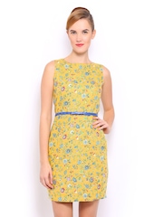 Mast & Harbour Yellow Printed Linen Tailored Dress