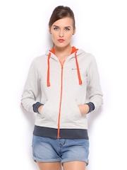 Mast & Harbour Women Grey Melange Hooded Sweatshirt