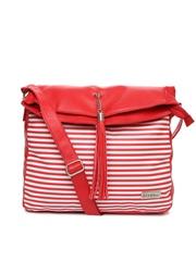 Mast & Harbour Red Striped Oversized Sling Bag