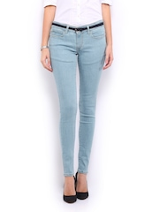 Mast & Harbour Women Light Blue Slim Fit Jeans