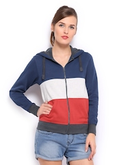 Mast & Harbour Women Multicoloured Hooded Sweatshirt