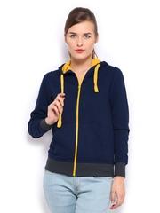 Mast & Harbour Women Navy Hooded Sweatshirt