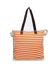 Mast & Harbour Women Orange & Cream Coloured Striped Tote Bag