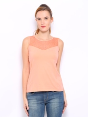 Mast & Harbour Women Peach Coloured Marilyn Top