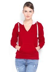 Mast & Harbour Women Red Hooded Sweatshirt