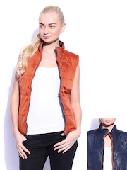 Mast & Harbour Women Rust Orange & Navy Reversible Jacket