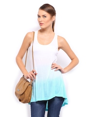 Mast & Harbour Women White & Blue Tank Top