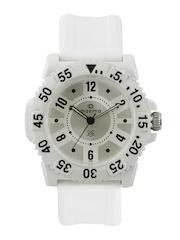 Maxima Attivo Men White & Silver-Toned Dial Watch 12015PPGW