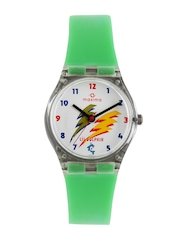 Maxima Lil Dolphin Kids White Printed Dial Watch 04421PPKW