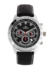 Maxima Men Black & Silver Toned Dial Watch