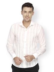 Mayank Modi Men White Striped Shirt