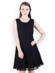 Maysa Black Lace Drop Waist Dress