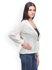 Meee Women White Lace Blazer
