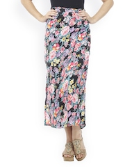 Meee Women Multicoloured Floral Printed Maxi Skirt