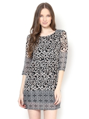 Meira Black & Off-White Printed Shift Dress