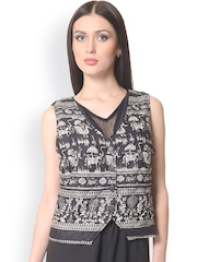 Meira Women Black Printed Quilted Waistcoat