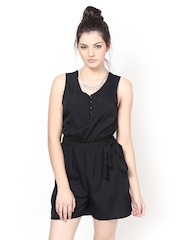 Meira Women Black Crepe Playsuit