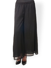 Meira Women Black Striped Palazzo Trousers