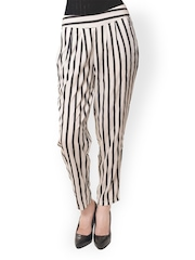 Women Black & White Striped Trousers Meira