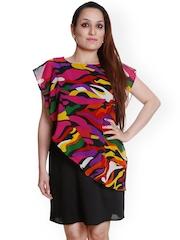 Meiro Black Printed Shift Dress