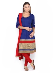 Melange by Lifestyle Women Blue & Red Churidar Kurta with Dupatta
