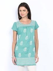 Melange by Lifestyle Women Blue Embroidered Kurta