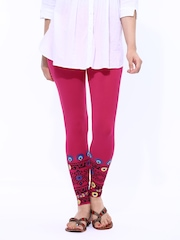 Melange by Lifestyle Women Fuchsia Pink Printed Leggings
