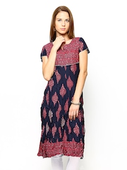 Melange by Lifestyle Women Navy Printed Kurta