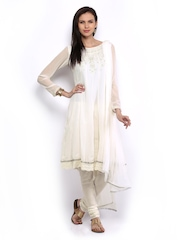 Melange by Lifestyle Women Off-White Churidar Kurta with Dupatta