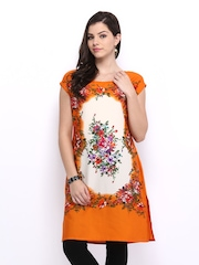 Melange by Lifestyle Women Orange & Off-White Printed Kurta
