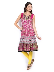 Melange by Lifestyle Women Pink & White Printed Anarkali Kurta