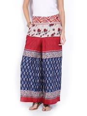 Melange by Lifestyle Women Red & Blue Printed Palazzo Trousers
