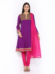 Melange by Lifestyle Women Purple & Pink Anarkali Churidar Kurta with Dupatta