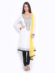 Melange by Lifestyle Women White & Black Embroidered Churidar Kurta with Dupatta