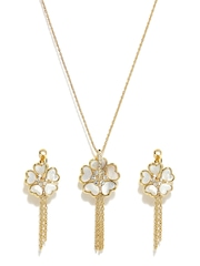 Melifa Gold Plated & White Jewellery Set