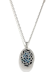 Melifa Sterling Silver Plated & Blue Swarovski Pendant with Chain