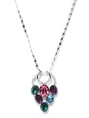 Melifa Silver Toned & Multi-Coloured Swarovski Pendant with Chain