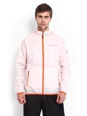 Merrell Men Coral Orange Printed Hooded Wind Jacket