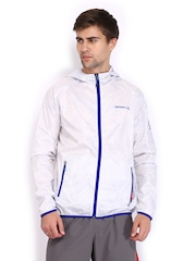 Merrell Men White & Blue Wind Hooded Printed Jacket