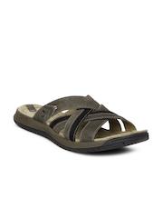 Men Olive Green Traveller Tilt Cross Sandals Merrell