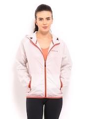 Merrell Women White Printed Hooded Jacket