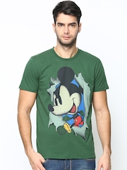 Mickey by Free Authority Men Green Printed T-shirt
