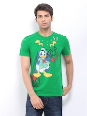 Mickey Men Green Printed T-shirt
