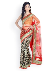 Mina Bazaar Black & Red Embroidered Brocade & Net Partywear Saree