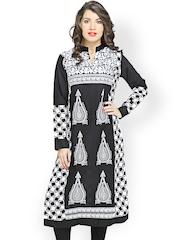 Miradesigns Women Black & White Printed Kurta