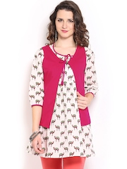 Mirage Off-White & Brown Printed Kurti with Waistcoat