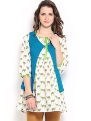Mirage Off-White & Green Printed Kurti with Waistcoat